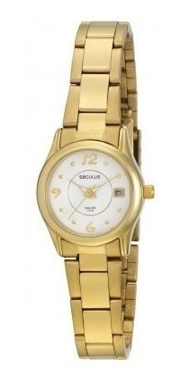 Relógio Seculus Analógico Feminino Dourado 28102lpslda