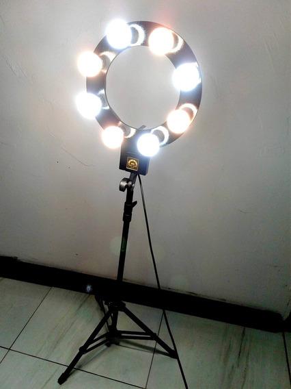 Ring Light 8 Bocais Com Tripé E Suporte Para Celular