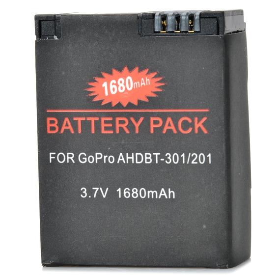 3.7v 1630mah Li - Íon Bateria Para Gopro Herói 3/3 + - Preto