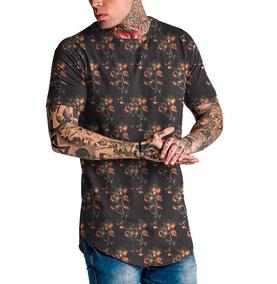 Camiseta Masculina Camisa Longline Floral Top Fashion Swag