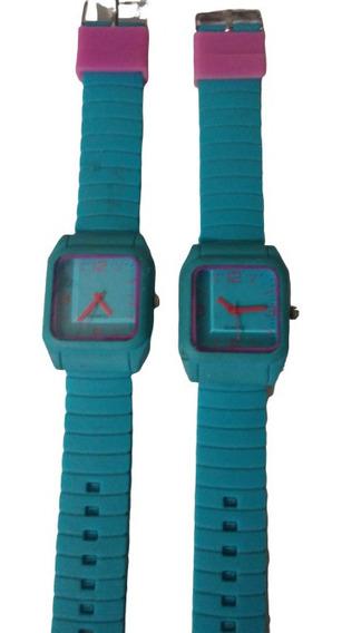 Kit C/2 Relógio De Pulso Feminino Barato Pulseira Azul