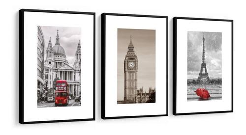 Quadro Moldura Lisa New York, Paris E Londres 120x60