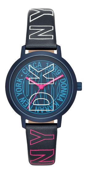 Reloj Unisex Dkny Ny2818 Color Azul De Piel