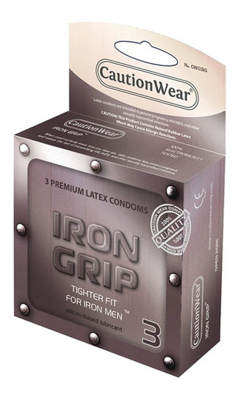 Condones Caution Wear Iron Grip Mas Chicos 12 Piezas