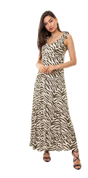 Vestido Kinara Longo Viscose Animal Print Verde