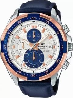 Reloj Casio Edifice Efr-5345l-2av Malla Cuero Azul
