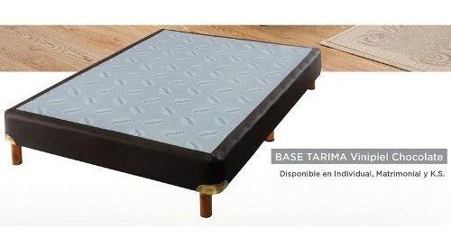 Imagen 1 de 4 de Base Tarima Vinipiel Matrimonial - Chocolate Këssa Muebles