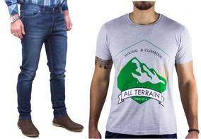 Kit Masculino Calça Jeans Camisa Cinza Malha All Terrain Atr