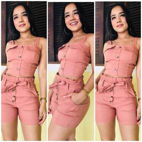 Macaquinho Conjunto Crooped Shorts Curto Bengaline Feminino