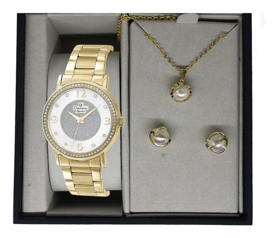 Relógio Champion Feminino Dourado + Kit Colar E Brinco Kit03