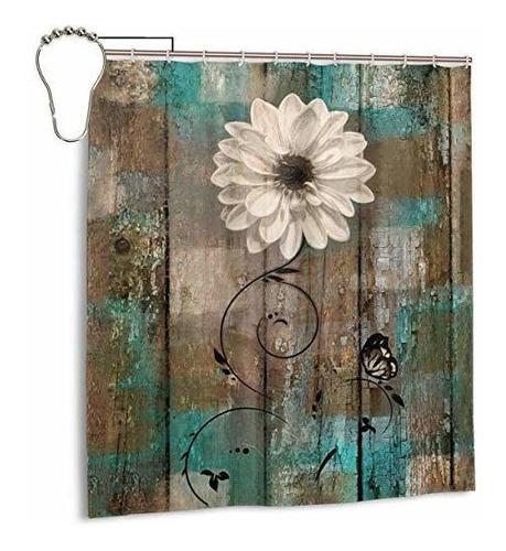 Imagen 1 de 5 de Amonee-yl Rustico Floral Mariposa Flor Blanca Verde Azulado