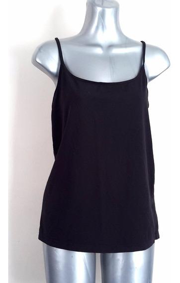 Top Camiseta Basica Stretch De Algodon Negra Talla M