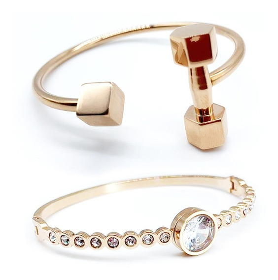 Kit 02 Pulseira Bracelete Feminina Aço Inox Banhado A Ouro