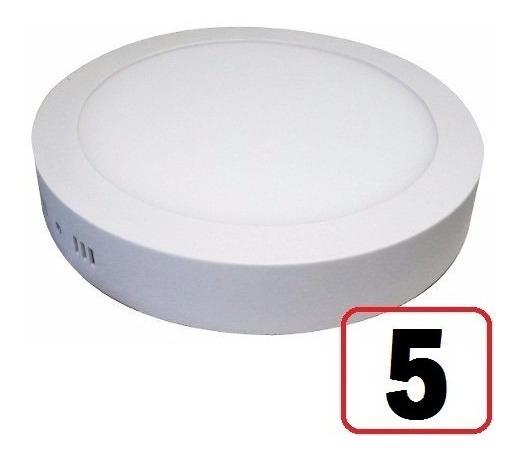 Kit 5 Painel Plafon Led 18w Redondo Sobrepor Frio Luminaria
