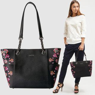 Calvin Klein Bolso Tote Negro Flores -65% Original Nuevo