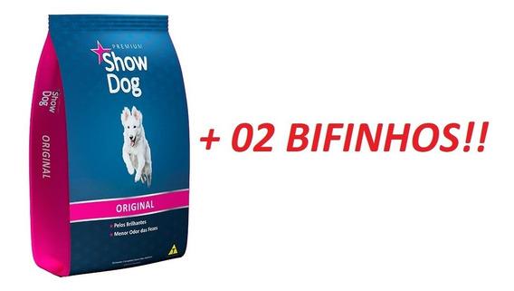 Ração Show Dog Original Premium 25kg Mais 02 Bifinhos