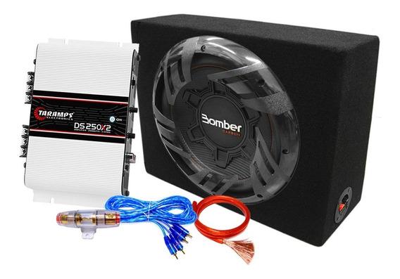 Combo Subwoofer 12 Carbon 250w + Potencia Taramps + Kit Auto