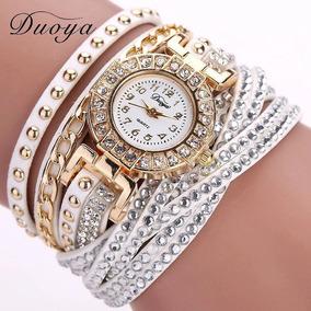 Relógio Feminino Bracelete Correntinha No Meio Branco Top