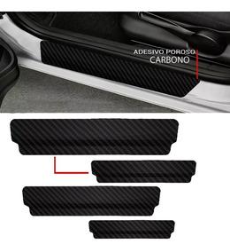 Soleira Protetora Porta Adesivo Carbono Universal - Kit 4pçs