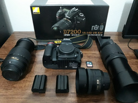 Nikon D7200 Com 3 Lentes+2baterias Cartão De 32gb Novissima!