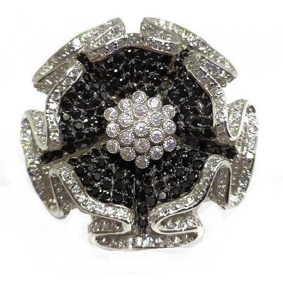 Hx4-anel Flor Prata 925 Zirconias Negras Rodio Kessel