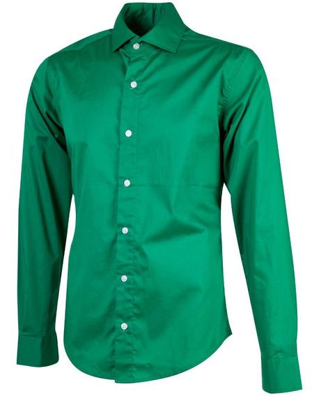 Camisa Manga Larga Lisa Verde Hombre Outside Tokyo 1352