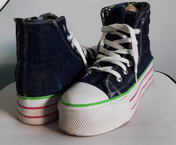 Zapatillas De Jean Con Plataforma Converse - 26 Cm De Largo