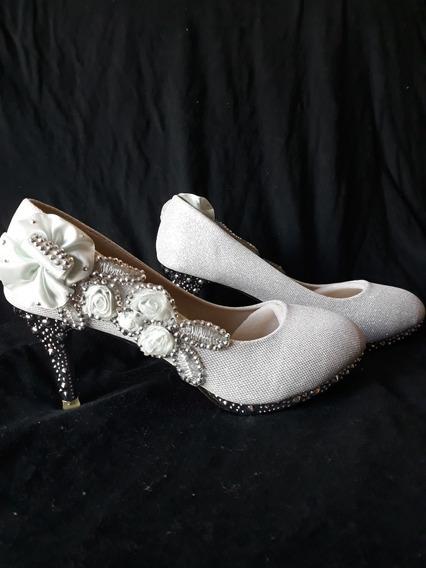 Sapato Prateado Pra Noivas Formandas Madrinhas