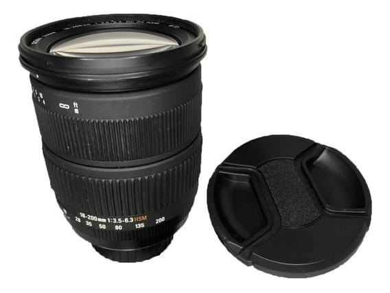 Lente Para Nikon 18-200mm Sigma 1:3.5-6.3 Seminova Impecável
