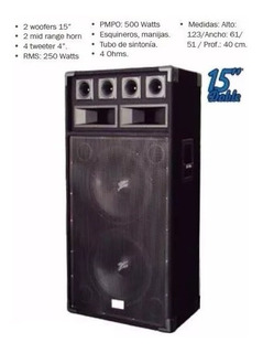 Columna Doble 15 500w Bafle Alfombrado 3 Vias 300 Rms