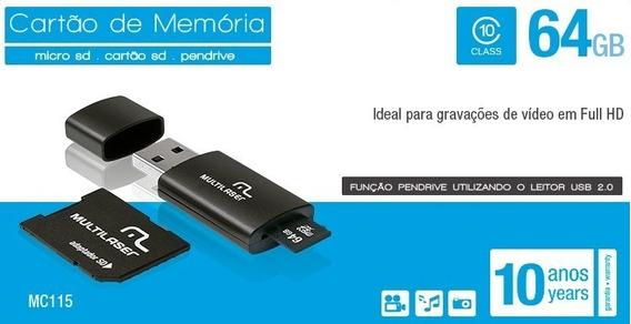 Adaptador 3 Em 1 Sd + Pendrive +cartão De Memória Classe 10