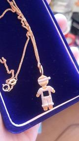 Colar Com Pigente Menino Ouro Branco Com Diamantes