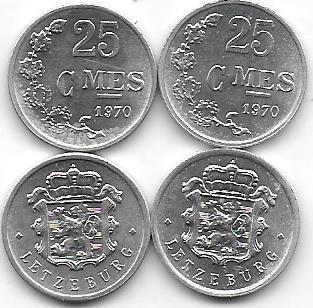 Moneda Luxemburgo 25 Centimes Año 1970 Sin Circular