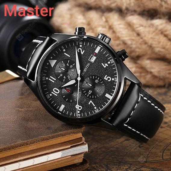 Relógio Masculino Quartz-cronômetro-pulseira Em Couro