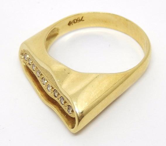 Anel De Ouro 18k Com 9 Diamantes Legítimos