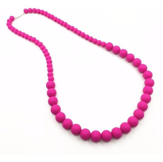 Colar Mordedor Silicone Bpa Free Pink Longo 75cm
