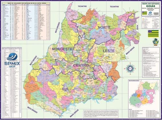 Mapa Estado De Goiás Atualizado - 120cm X 90cm Gigante