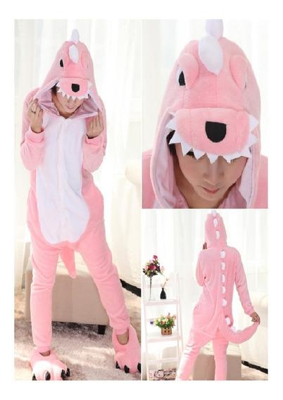 Kigurumi Dinosaurio Rosa Verde Unisex Pijama Mujer Mameluco