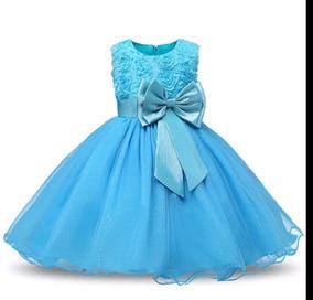 Vestido Azul Bebês Meninas Festa 1 Aninho
