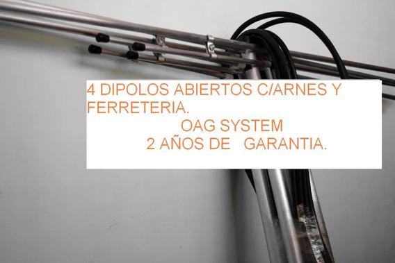 4 Dipolos Abiertos Fm Para 300 W C/arnes Y Ferreteria