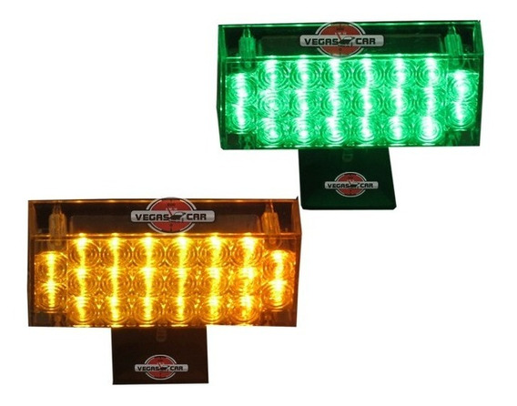 Kit Strobo 44 Leds Super Amarelo / Verde Type R