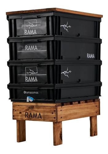 Compostera Rama Somos Jardín 90l Canilla Base Tapa Lombrices
