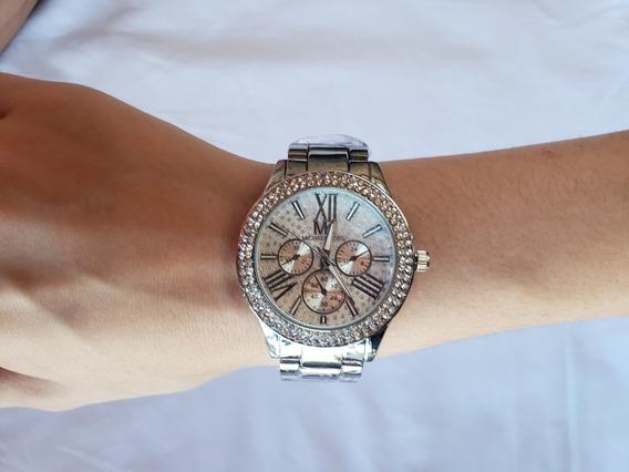 Relógio De Pulso Feminino Prata Com Strass