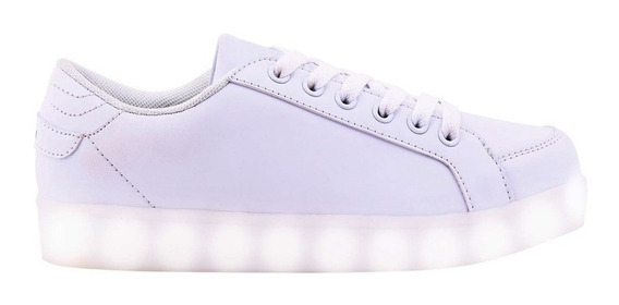 Zapatillas Footy Luces Led Mini Blanca Mmk Fxl81