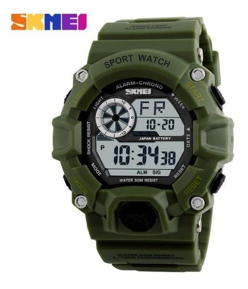 Relógio Militar Verde Camuflado Esportivo Digital Original