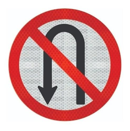 Placa Proibido Retornar A Esquerda  Refletivo  R-5a Ti