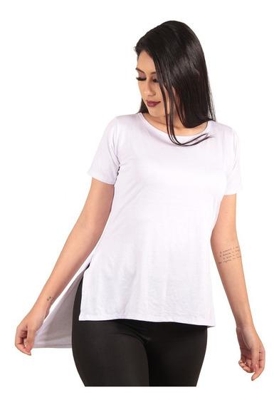 Camiseta Long Feminina Blusa Camisa Alongada Roupa Tumblr