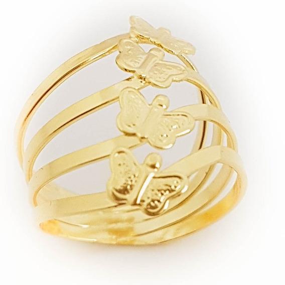 Anel Feminino Borboleta Dourada Banhado A Ouro 18k. A36