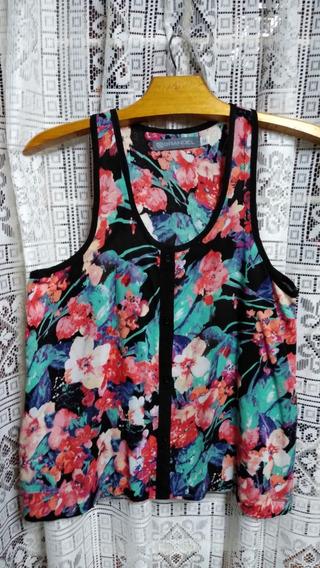 Musculosa Negra Con Flores De Colores Brandel Talle M