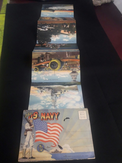 Antiguas Postales Plegable The Us Navy Año 30.
